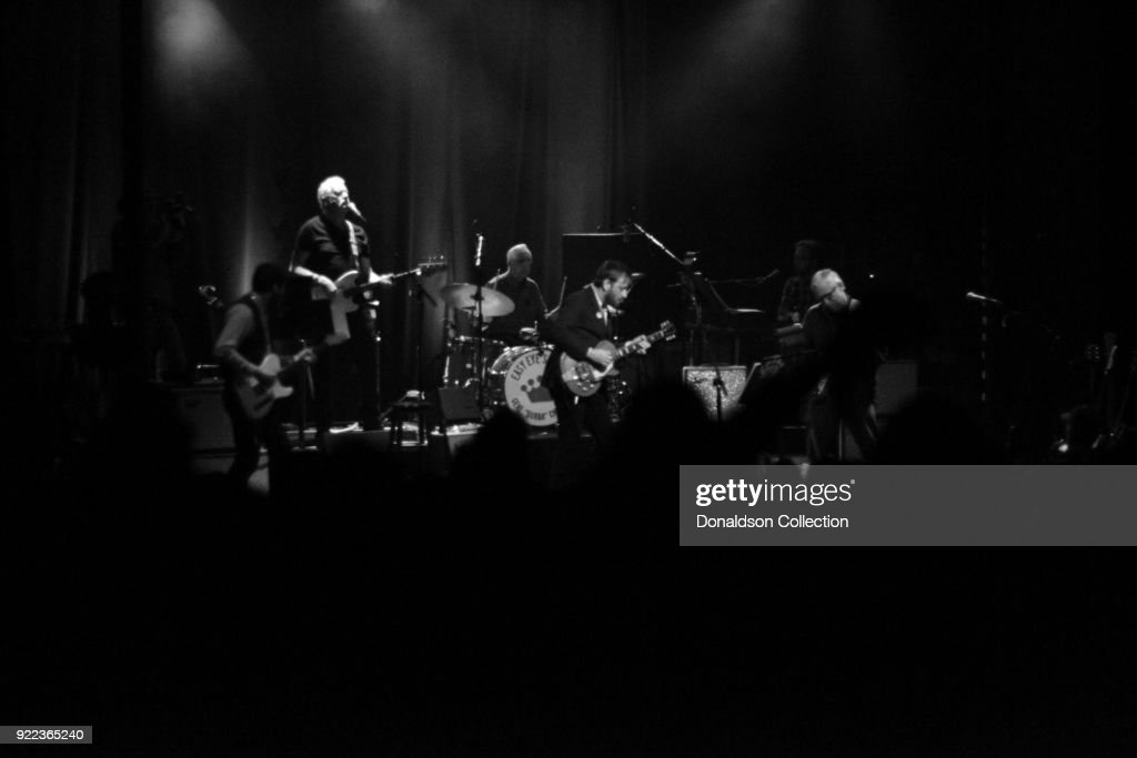 Guitarist Dante Schwebel, bassist Dave Roe, drummer Gene 'Bubba' Chrisman, keyboardist Bobby Wood, guitarist Russ Pahl and guitarist Dan Auerbach of the rock band 'Dan Auerbach and the Easy Eye Sound Revue' performs onstage at the Obervatory on February 18, 2018 in Santa Ana, California.