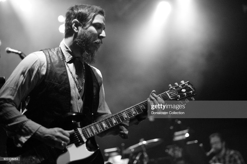 Guitarist Dante Schwebel of Dan Auerbach of the rock band 'Dan Auerbach and the Easy Eye Sound Revue' performs onstage at the Obervatory on February 18, 2018 in Santa Ana, California.