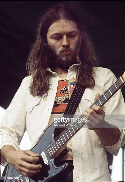 Guitarist Dave Gilmour performing with English rock group Pink Floyd, Hyde Park, London, 31st August 1974.