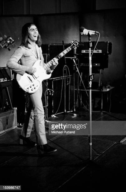 Guitarist Dave Hill of British rock band Slade recording a song at Command Studios London October 1971