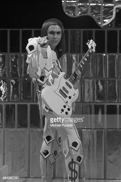 Guitarist Dave Hill performing with English rock group Slade on the Christmas Day edition of the BBC TV music show 'Top Of The Pops' broadcast 25th...