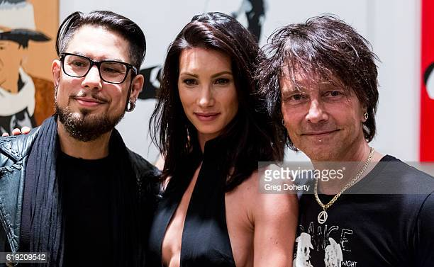 Guitarist Dave Navarro Actress Sonni Pacheco and Artist Billy Morrison pose for a picture at the Gallery Opening Of 'Social Distortion A Capsule...