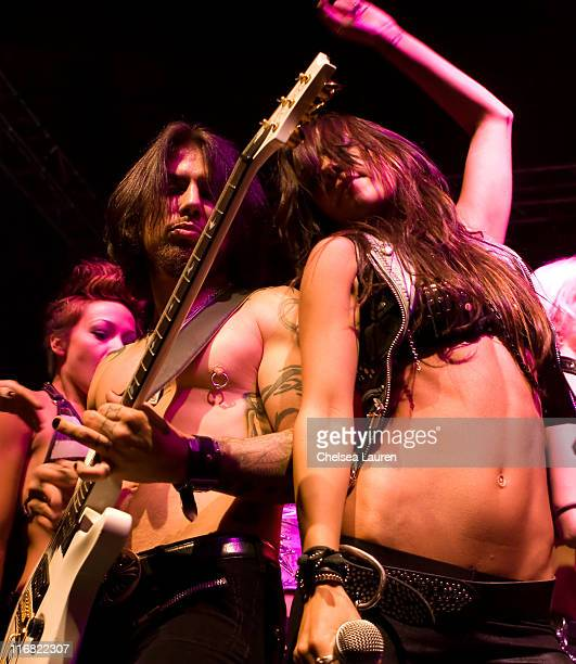 Guitarist Dave Navarro and members ofThe Darling Stilettos perform at the Official Grand Opening of Galpin Auto Sports on October 18 2008 in Van Nuys...