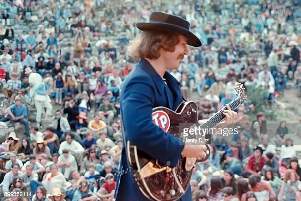 Guitarist David Crosby of the Byrds performs with his band in front of a large crowd at the Magic Mountain Music Festival on Mount Tamalpais