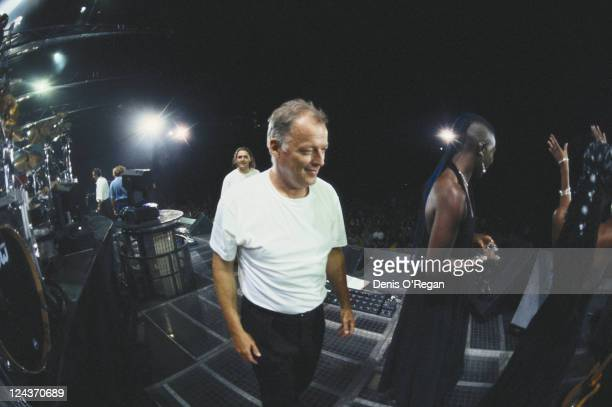 Guitarist David Gilmour on stage during a concert by British rock group Pink Floyd on the band's Division Bell Tour April 1994