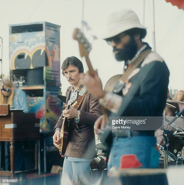 Guitarist Dickey Betts and bassist Lamar Williams of the Allman Brothers performs on stage circa 1975