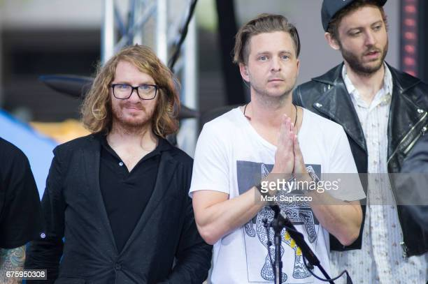 Guitarist Drew Brown and Singer Ryan Tedder of One Republic performs On NBC's Today Show at Rockefeller Plaza on May 2 2017 in New York City