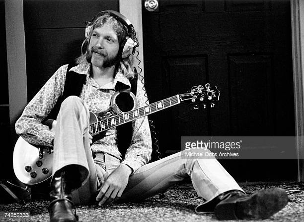 Guitarist Duane Allman of the Southern rock group the 'Allman Brothers' holds his Gibson Les Paul electric guitar at Muscle Shoals Studios on...