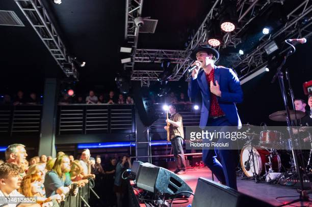 Guitarist Duncan Lloyd, singer Paul Smith and drummer Tom English of Maximo Park perform onstage at The Liquid Room on May 24, 2019 in Edinburgh,...