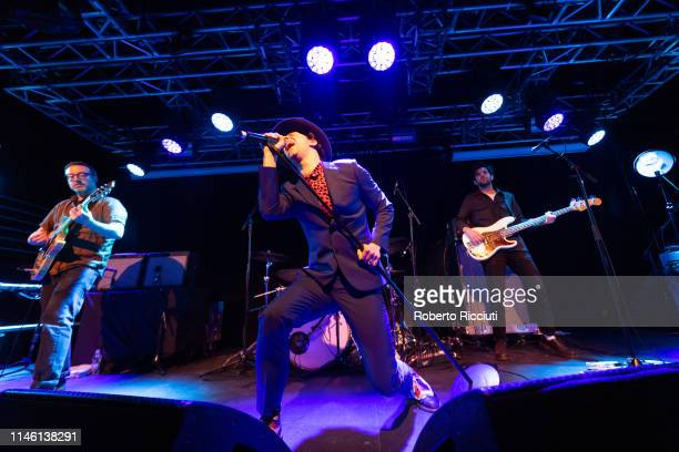 Guitarist Duncan Lloyd, singer Paul Smith and touring bass guitarist Paul Rafferty of Maximo Park perform onstage at The Liquid Room on May 24, 2019...