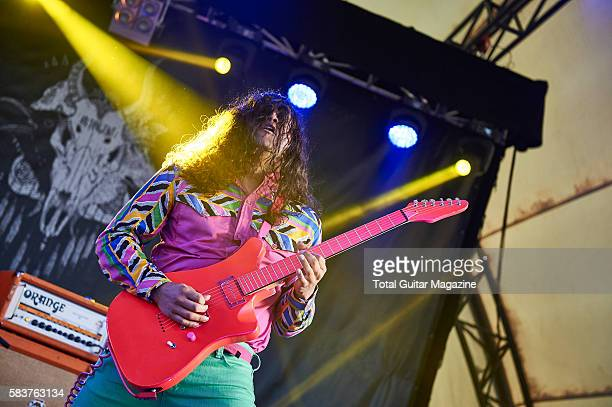 Guitarist Ed Rodriguez of noise rock group Deerhoof performing live on stage at ArcTanGent Festival in Somerset on August 22 2015