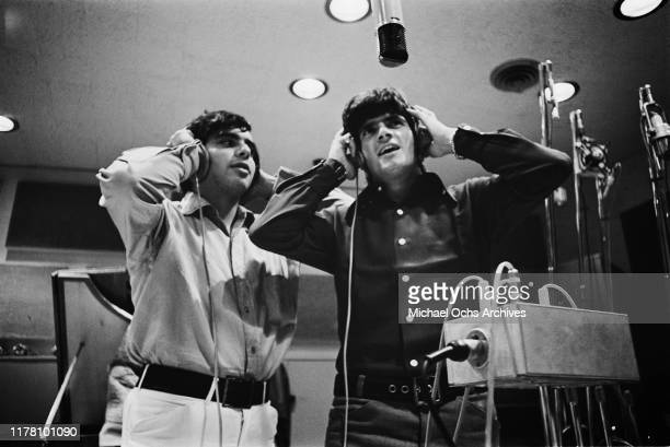 Guitarist Eddie Gray and drummer Peter Lucia of American band Tommy James and the Shondells in a recording studio circa 1968