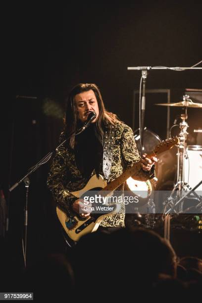 Guitarist Eddie Perez of The Mavericks performs live on stage during a concert at the Heimathafen Neukoelln on February 12 2018 in Berlin Germany