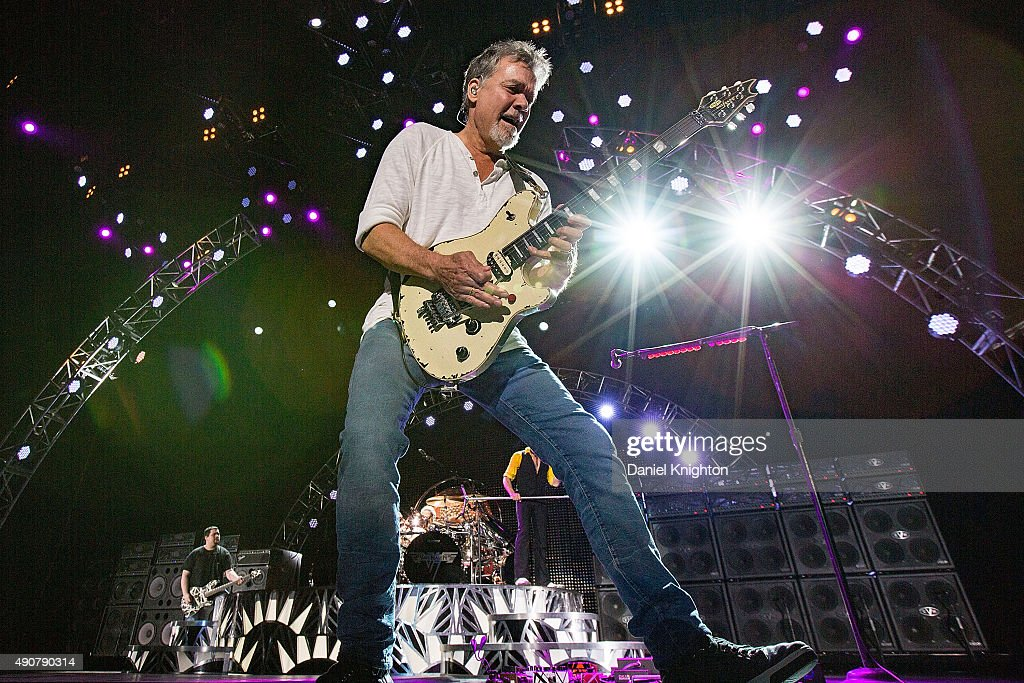 Guitarist Eddie Van Halen of Van Halen performs on stage at Sleep Train Amphitheatre on September 30, 2015 in Chula Vista, California.