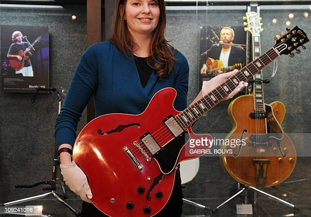Guitarist Eric Clapton's 2005 Gibson ES335 Crossroads model prototype is on display at Bonhams in Los Angeles on February 17 2011 Guitars and amps...