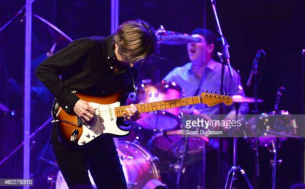 Guitarist Eric Johnson and drummer Anton Fig perform on stage at The Canyon Club on January 25 2015 in Agoura Hills California