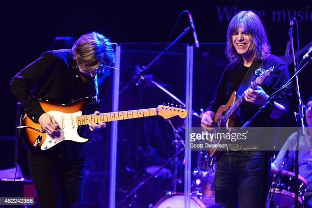 Guitarist Eric Johnson and guitarist Mike Stern perform on stage at The Canyon Club on January 25 2015 in Agoura Hills California