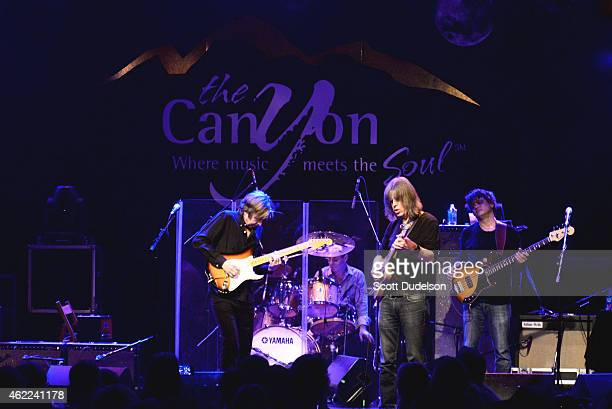 Guitarist Eric Johnson drummer Anton Fig guitarist Mike Stern and bass player Chris Maresh perform on stage at The Canyon Club on January 25 2015 in...