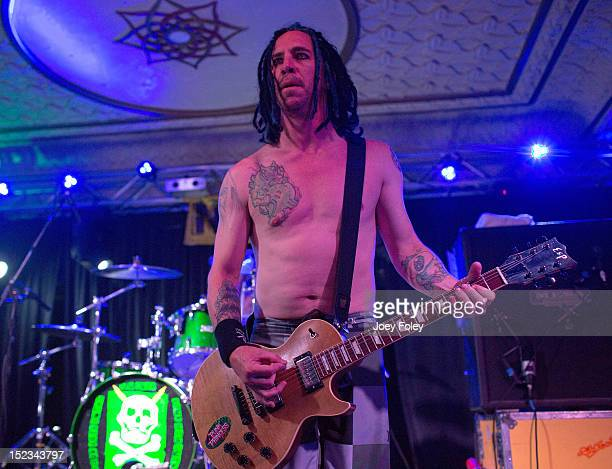 Guitarist Eric Melvin of NOFX performs onstage at Old National Centre on September 18 2012 in Indianapolis Indiana