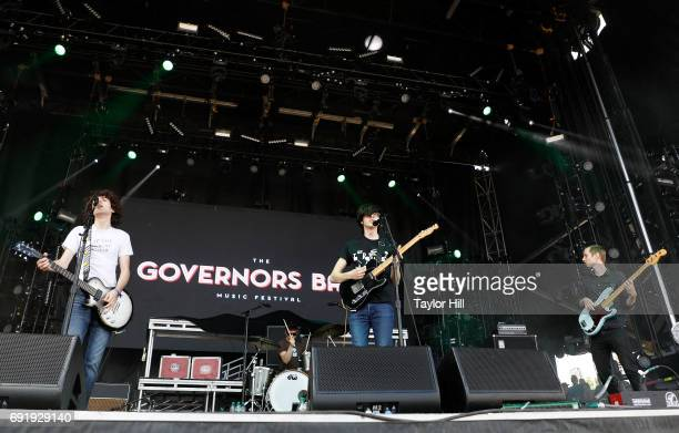 Guitarist Ethan Ives Singer/guitarist Will Toledo drummer Andrew Katz and bassist Seth Dalby of Car Seat Headrest perform live onstage during 2017...