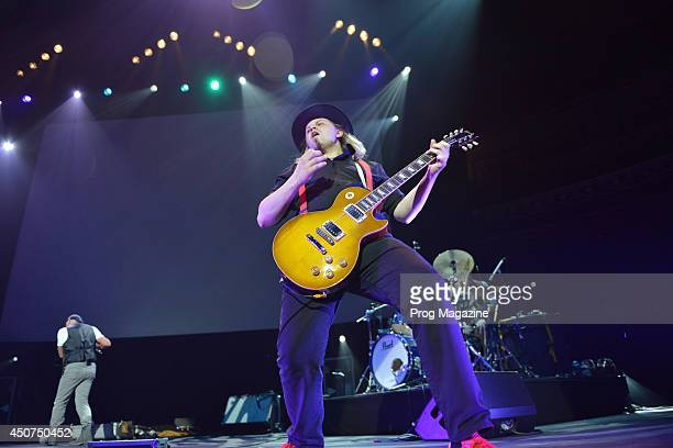 Guitarist Florian Opahle performing live on stage as a member of progressive rock musician Ian Anderson's touring band at the Royal Albert Hall in...