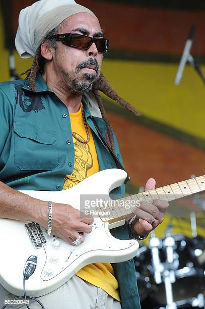 Guitarist for Third World performs during day 2 of the 2009 New Orleans Jazz Heritage Festival Presented by Shell at the New Orleans Fairgrounds and...
