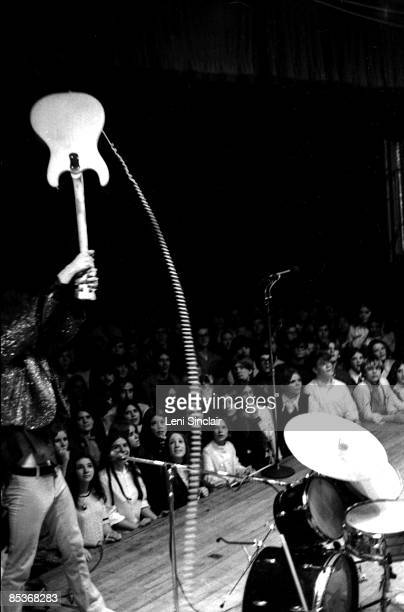 Guitarist Fred Sonic Smith of The group MC5 smashes his guitar on stage in 1969 in East Lansing Michigan