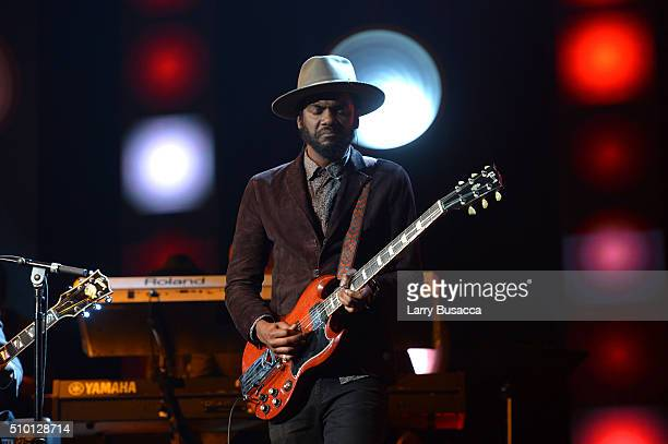 Guitarist Gary Clark Jr performs onstage during the 2016 MusiCares Person of the Year honoring Lionel Richie at the Los Angeles Convention Center on...
