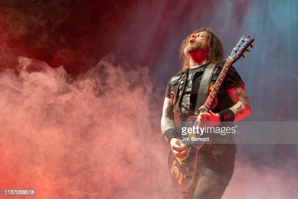 Guitarist Gary Holt of Slayer performs live on stage at Geneva Arena on June 19 2019 in Geneva Switzerland