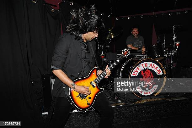 Guitarist Gaurav Bali and drummer Alex Sassaris of the rock group Eve To Adam perform live at On The Rox at The Roxy Theatre on June 11 2013 in West...
