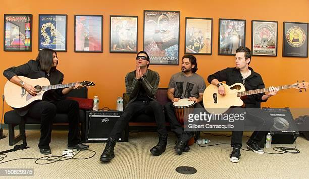 Guitarist Gaurav Bali Taki Sassaris Alex Sassaris and Luis Espaillat of Eve to Adam visit The Recording Academy Philadelphia Chapter Office on August...