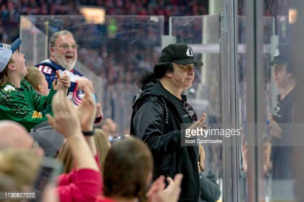 Guitarist Gene Simmons for KISS greets fans in a game between the Columbus Blue Jackets and the Carolina Hurricanes on March 15 2019 at Nationwide...