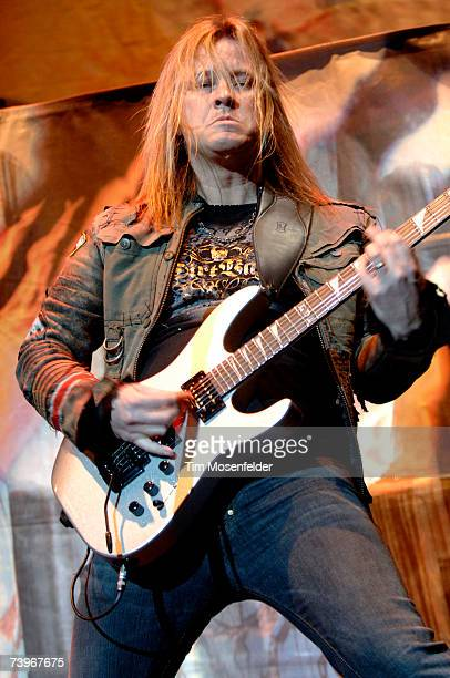 Guitarist Glen Drover of Megadeth performs in support of the band's 'United Abominations' release at the HP Pavilion on April 24 2007 in San Jose...