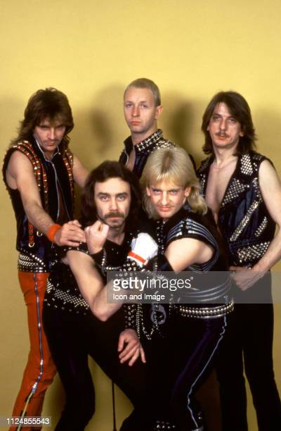 Guitarist Glenn Tipton, lead singer Rob Halford, drummer Dave Holland , bassist Ian Hill and guitarist K.K. Downing of the English heavy metal band...