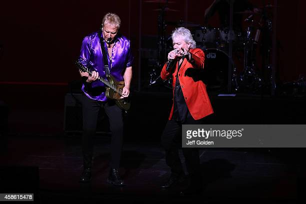 Guitarist Graham Russell and lead vocalist Russell Hitchcock of Air Supply perform at Thousand Oaks Civic Arts Plaza on November 7 2014 in Thousand...