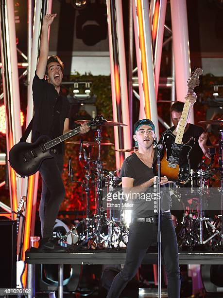 Guitarist Jack Barakat and singer/guitarist Alex Gaskarth of All Time Low perform during the MTV Fandom Fest San Diego ComicCon at PETCO Park on July...