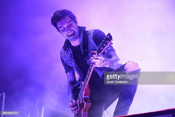 Guitarist Jack Fowler of the band Sleeping with Sirens performs onstage at the Self Help Festival on March 7 2015 in San Bernardino California