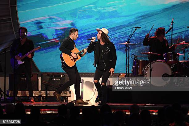 Guitarist James Adam Shelley and singer/guitarist Zac Barnett of American Authors perform during the 2016 NASCAR Sprint Cup Series Awards show at...