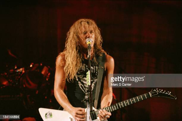 Guitarist James Hetfield of the rock band 'Metallica' performs onstage at the Long Beach Arena on June 14 1986 in Long Beach California