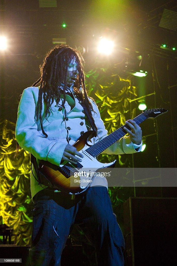 Guitarist James 'Munky' Shaffer of Korn performs at the Mississipi Coast Coliseum on February 5, 2011 in Biloxi City.