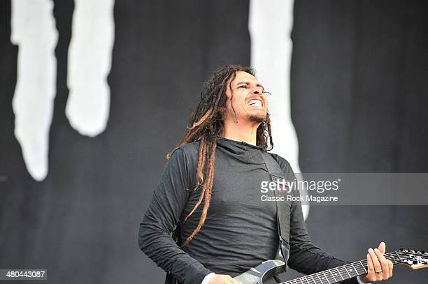 Guitarist James Shaffer better known by his stage name Munky of American heavy metal group Korn performing live on the Main Stage at Download...