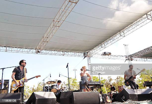 Guitarist James Shaw drummer Joules ScottKey vocalist Emily Haines and bassist Josh Winstead of Metric perform during the 2009 Live 105 BFD Concert...