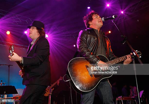Guitarist James Young and frontman Mike Eli of the Eli Young Band perform during the 44th annual Academy of Country Music Awards AllStar Jam at the...