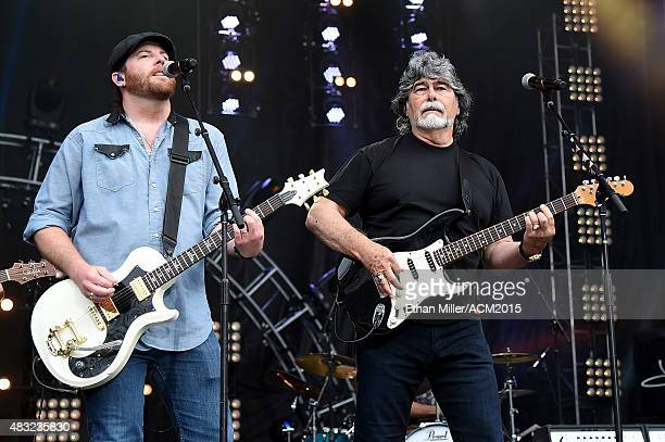 Guitarist James Young of the Eli Young Band and singer/guitarist Randy Owen of Alabama rehearse for ACM Presents Superstar Duets at Globe Life Park...