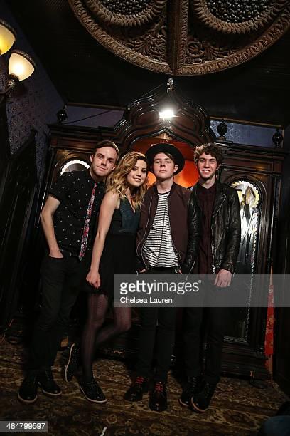 Guitarist Jamie Sierota, vocalist Sydney Sierota, drummer Graham Sierota and bassist Noah Sierota of Echosmith pose backstage at MTV Artist to Watch...