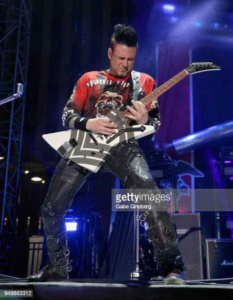 Guitarist Jason Hook of Five Finger Death Punch performs during the Las Rageous music festival at the Downtown Las Vegas Events Center on April 21...