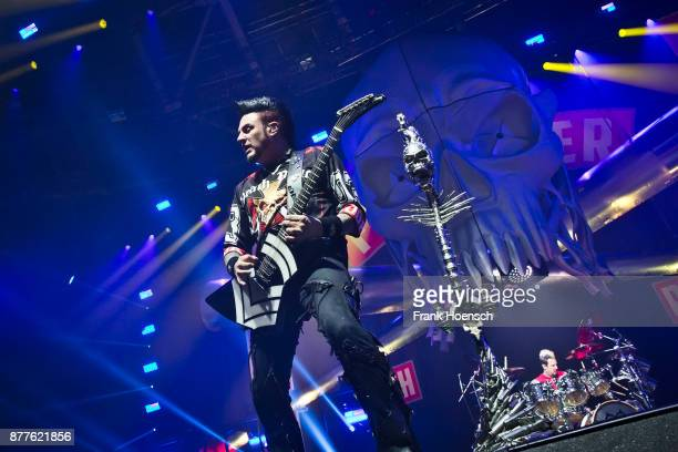 Guitarist Jason Hook of the American band Five Finger Death Punch performs live on stage during a concert at the Velodrom on November 22 2017 in...
