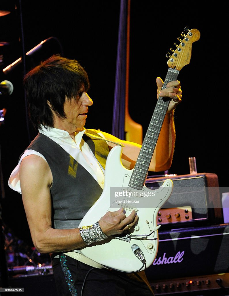 Guitarist Jeff Beck performs at The Pearl concert theater at the Palms Casino Resort on October 18, 2013 in Las Vegas, Nevada.