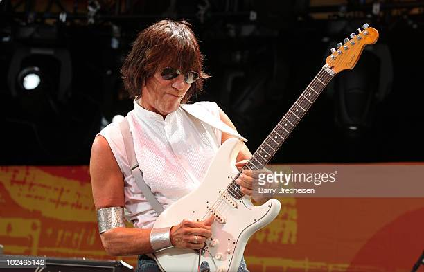 Guitarist Jeff Beck performs onstage during the 2010 Crossroads Guitar Festival at Toyota Park on June 26 2010 in Bridgeview Illinois