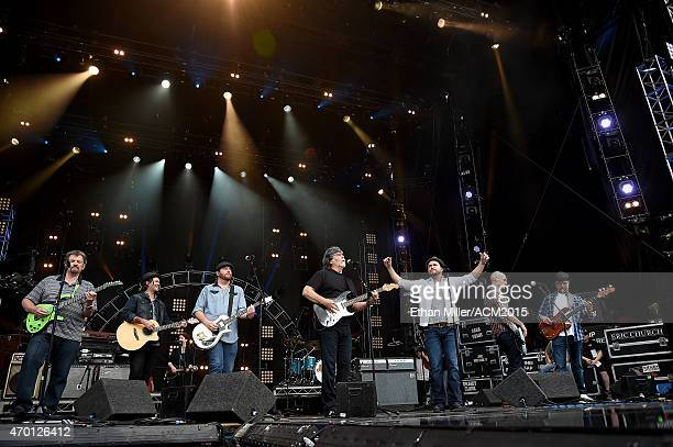 Guitarist Jeff Cook of Alabama musician Chris Thompson and guitarist James Young of the Eli Young Band singer/guitarist Randy Owen of Alabama...